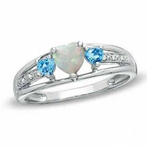 Zales Heart-Shaped Opal, Blue Topaz & Diamond Ring